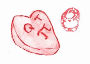 """Candy Heart """"QT Pi"""" etegami"""