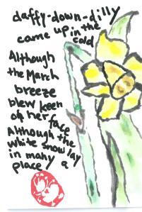 """Daffy Down Dilly poem by Anna Warner, (""""Amy Lothrop"""") Daffodil Etegami"""
