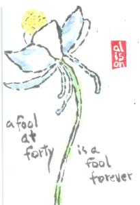 Fool at Forty Columbine Flower Etegami 1.2013-03-16