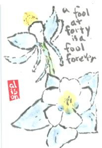 Fool at Forty Columbine Flower Etegami 2.2013-03-16