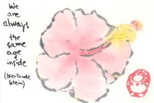 we are all the same age on the inside Hibiscus Birthday etegami