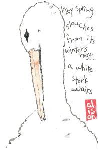 stork etegami, lazy spring slouches from its winter's nest, a white stork awaits. labontegami.com