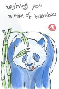 Happy Birthday Blue Panda etegami